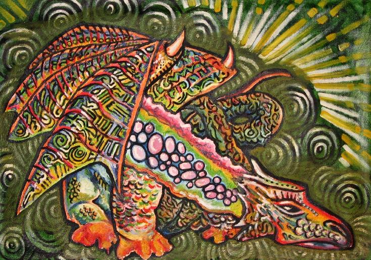 Colorful painting of Sleepy dragon.