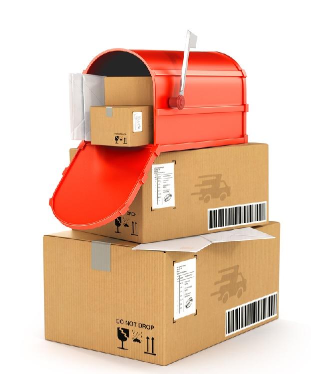 red mailbox on cartons. 3d illustration