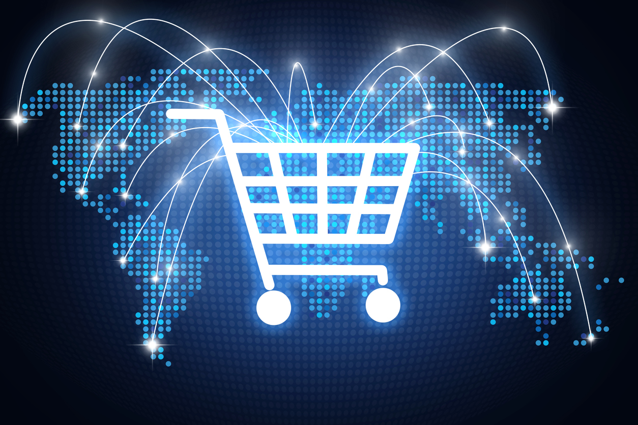 Shopping cart icon with lines pointing on different places around the globe, online shopping concept